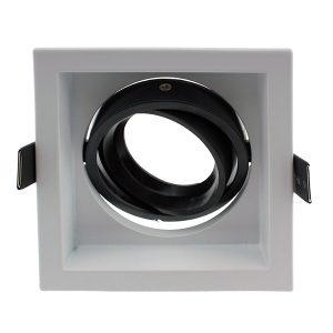 Aro cuadrado orientable para foco LED ArumLED blanco y negro