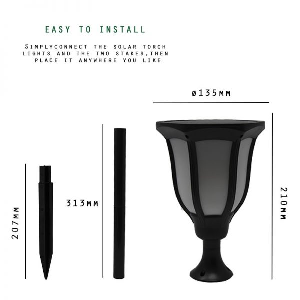 Farol solar LED estilo retro luz cálida 2200k 2