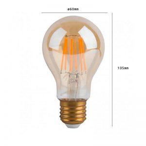 Bombilla LED filamento 8w E27 A60 luz cálida 1