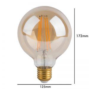 Bombilla LED retro redonda E27 8w G125 luz cálida 1