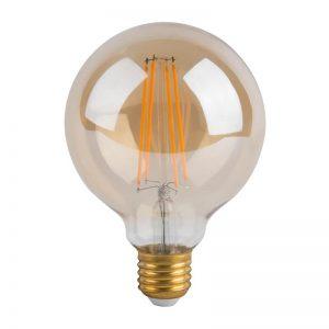 Bombilla LED retro redonda E27 8w G125 luz cálida