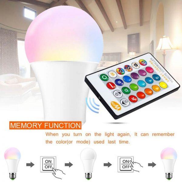 Bombilla LED E27 con mando a distancia RGB 10w 3