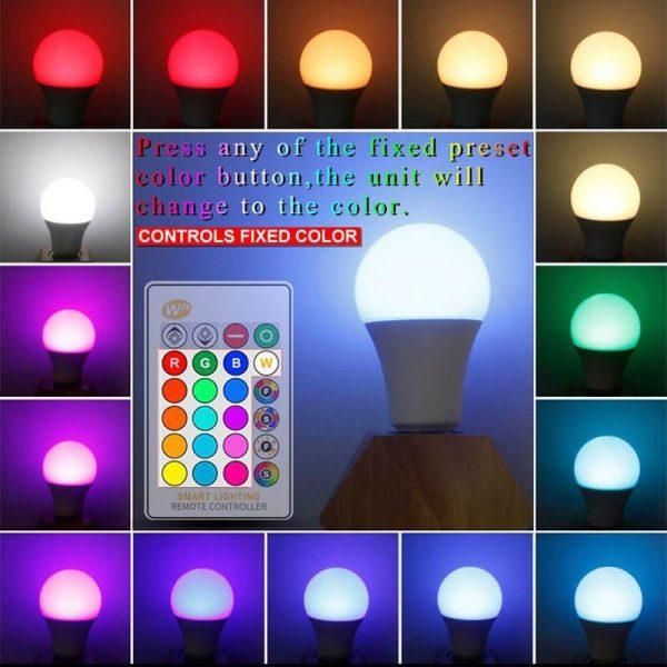 Bombilla LED E27 con mando a distancia RGB 10w 6
