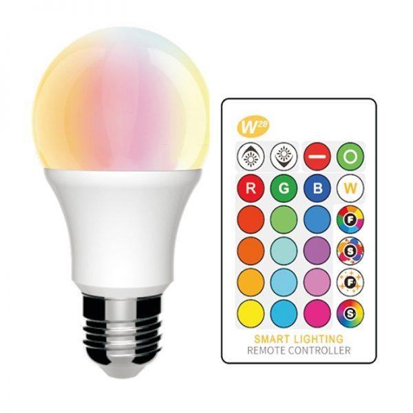 Bombilla LED E27 con mando a distancia RGB 10w
