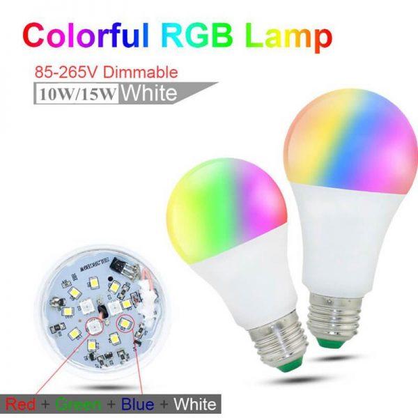 Bombilla LED E27 con mando a distancia RGB 10w 7