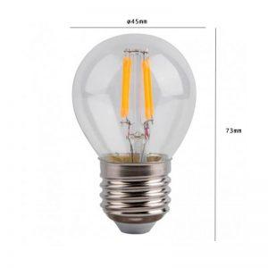 Bombilla LED de filamento pequeña E27 4w G45 1