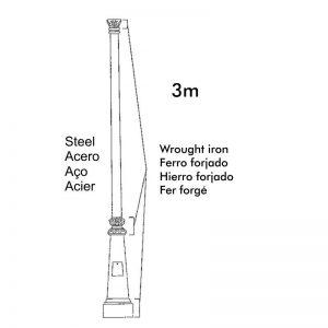 Columna estilo clásico para farola de 3m hecha en acero 1