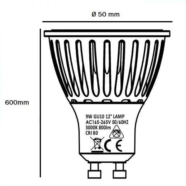 Bombilla LED GU10 cerámica 9w 12º Bridgelux luz cálida, neutra o fría 4