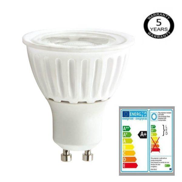 Bombilla LED GU10 cerámica 9w 24º Bridgelux luz cálida, neutra o fría 2