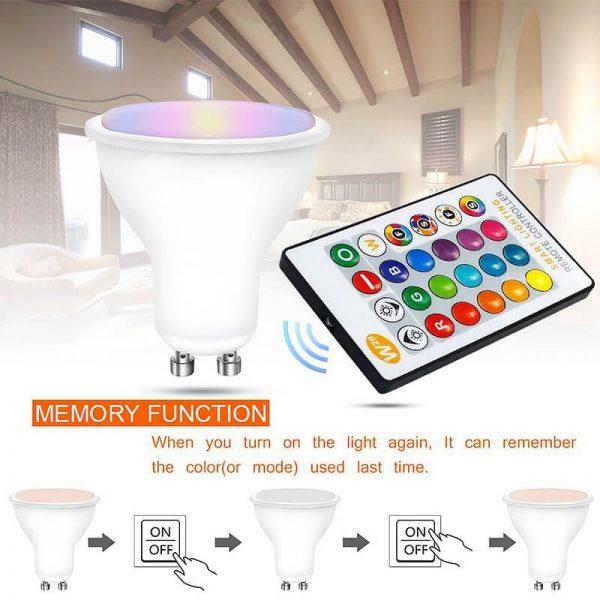 Bombilla LED GU10 RGB+W 5w con mando 3