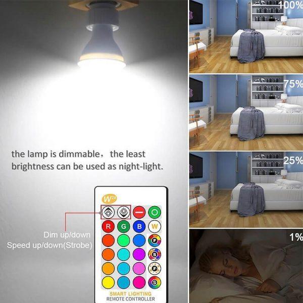 Bombilla LED GU10 RGB+W 5w con mando 4