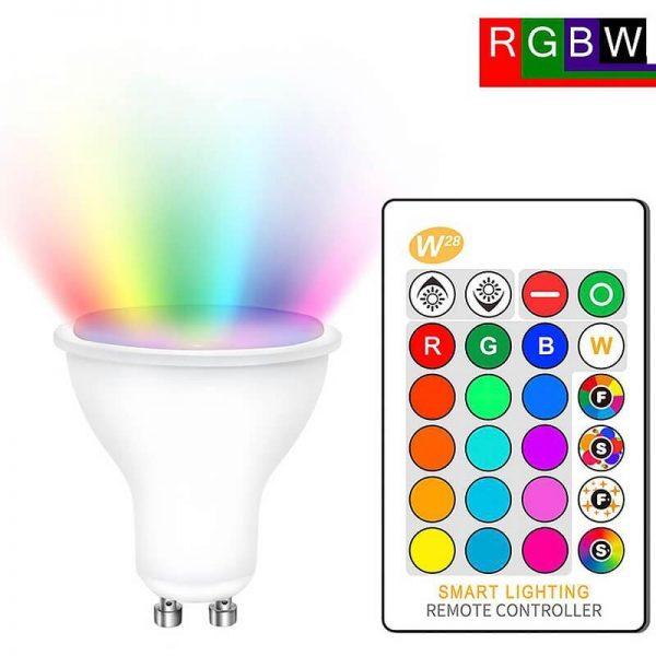 Bombilla LED GU10 RGB+W 5w con mando 5