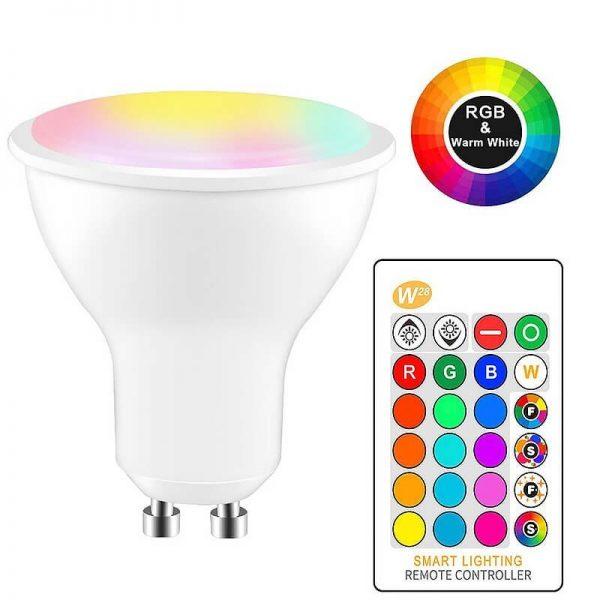 Bombilla LED GU10 RGB+W 5w con mando 8