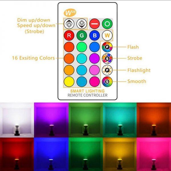 Bombilla LED GU10 RGB+W 5w con mando 9