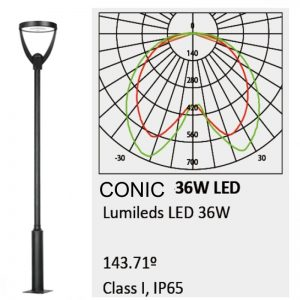 Farola Philips Conic Lumileds 36w luz neutra 160lm/w 1