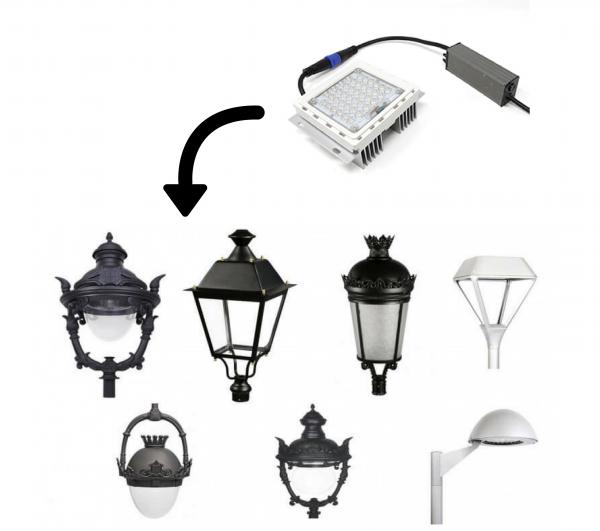Farola LED estilo clásico 40w Lumileds de acero 10