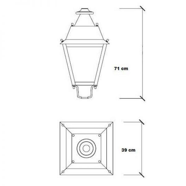 Farola LED estilo clásico 40w Lumileds de acero 2