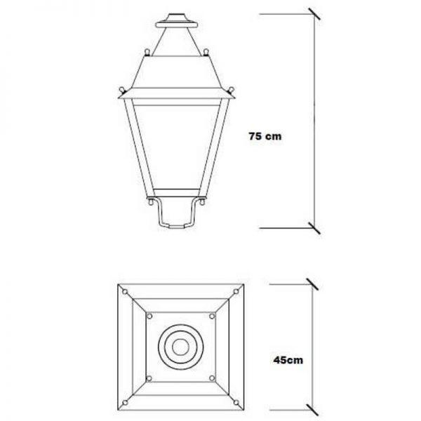 Farola LED estilo clásico 40w Lumileds de aluminio 2