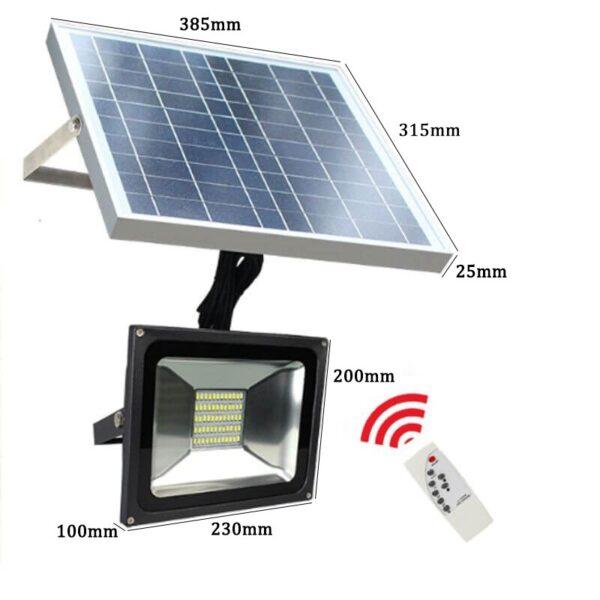 Foco LED solar 30w con mando IP65 6000k 2800lm 6