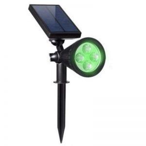 Foco solar luz verde giratorio 180º con estaca