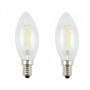 2 bombillas LED E14 filamento tipo vela 3W C35 en luz cálida o fría