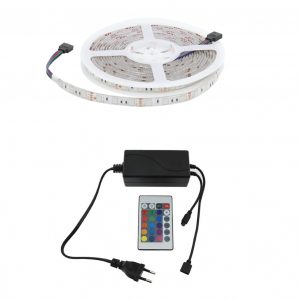 Kit tira LED RGB multicolor IP65 con mando a distancia 5m