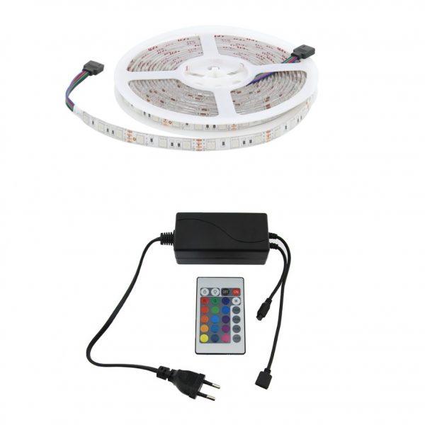 Kit tira LED RGB multicolor IP65 con mando a distancia 5m
