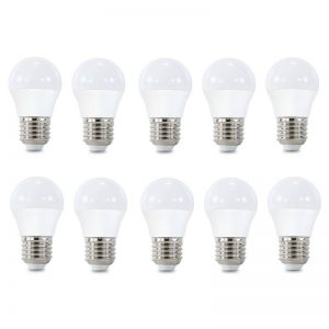 Pack 10 bombillas LED E27 G45 5w 270º en luz cálida, neutra o fría