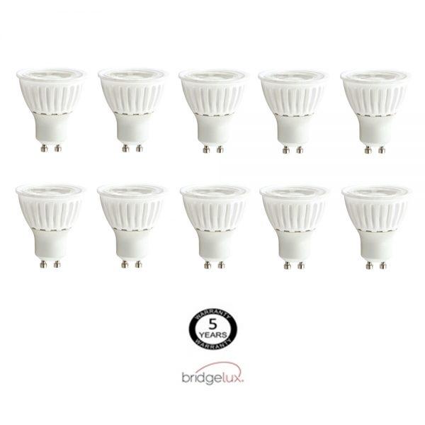 Pack 10 bombillas LED GU10 9w 24º Bridgelux luz cálida, neutra o fría