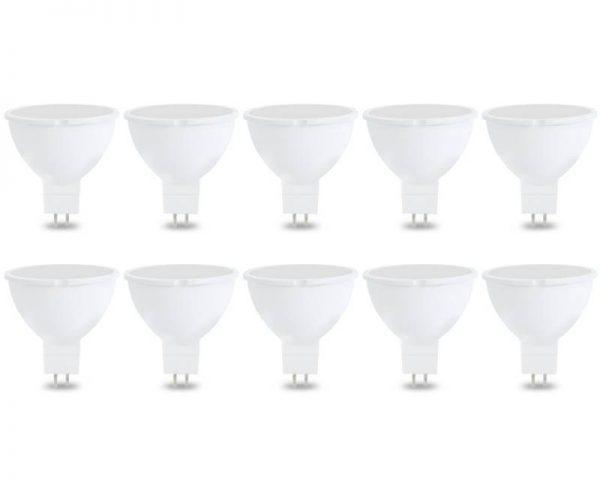 Pack 10 bombillas LED GU5.3 (MR16) 7w 120º en luz fría, neutra o cálida