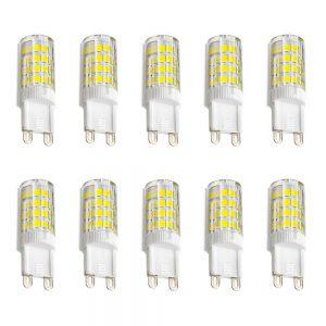 Pack de 10 bombillas LED G9 5W en luz cálida neutra o fría