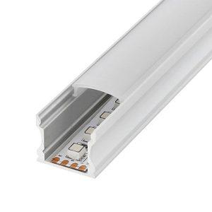 Perfil en U para tiras LED 12/24v de aluminio 2m alto