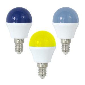 Bombilla LED E14 de colores, azul claro, azul oscuro o amarillo 1w