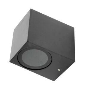 Aplique en forma de cubo negro pequeño GU10 IP54