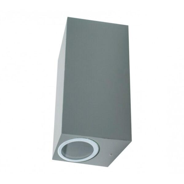 Aplique rectangular de exterior gris 2 x GU10 IP54