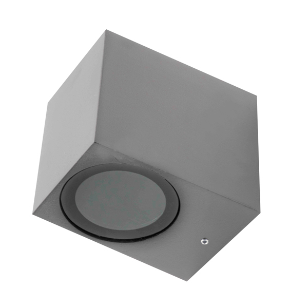 Aplique en forma de cubo gris pequeño GU10 IP54