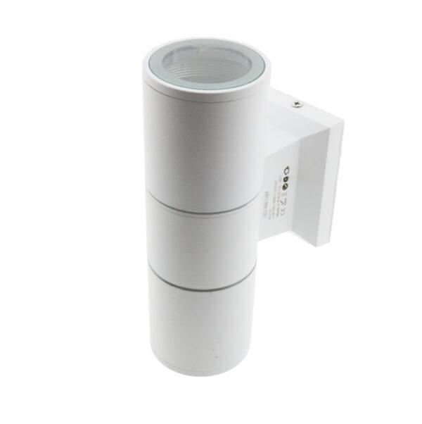 Aplique blanco cilíndrico con dos casquillos GU10 IP54