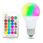 Bombilla LED A60 E27 10W RGBW con Mando