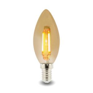 Bombilla LED Filamento E14 C35 4W Ámbar