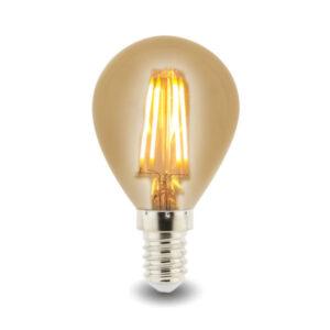 Bombilla LED Filamento E14 G45 4W Ámbar