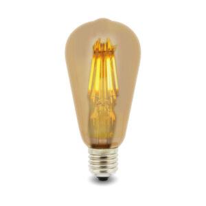 Bombilla LED Filamento E27 ST64 6W Ámbar