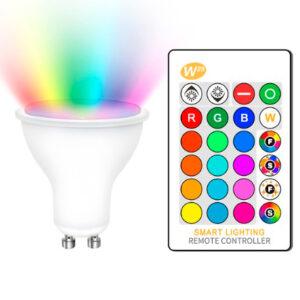 Bombilla LED GU10 5W RGBW con Mando