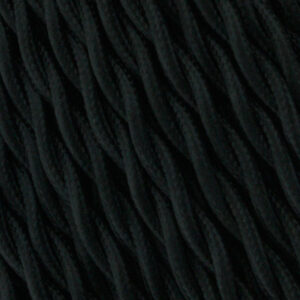 Cable textil trenzado negro 25 metros