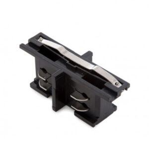 Conector para carril de focos trifásico en línea empotrable negro