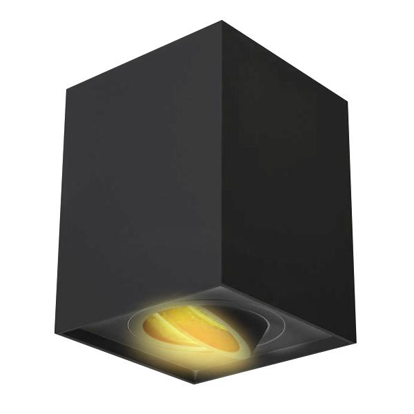 foco led de superficie orientable gu10 negro