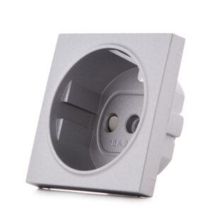 Cazoleta Panasonic Novella Toma Corriente Tt Lateral Plata (Compatible Mecanismo Karre)