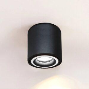 Aplique Techo LED Negro Aluminio - Doble Aro - para GU10 LED