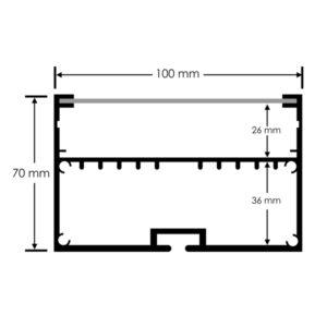 Perfil para tiras LED de 92 mm ancho máx. opcional colgante 2m