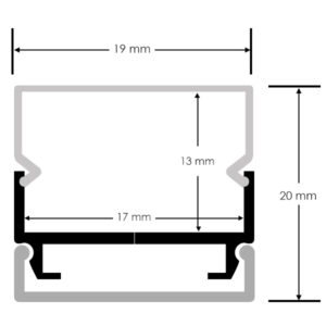 Perfil para tiras LED 17 mm ancho máx. opcional colgante 2m (min 10 uds)